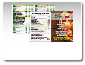 Menu pizza con testo in Italiano o in Inglese